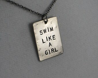 SWIM LIKE A GIRL Swim Necklace on Gunmetal Chain - Add a Swimmer Girl Charm - Triathlon Jewelry  - Swim Jewelry - Swim Team Necklace - Swim