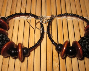 A Touch of Crochet Beaded Hoop Earrings in Black