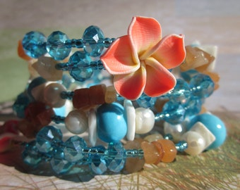 Caribbean Dream  - Blue, White, and Orange Beaded Wrap Bangle Bracelet