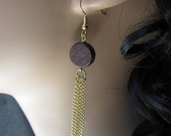 Naturally Glam Brown and Gold Tassel Chain Lightweight Earrings