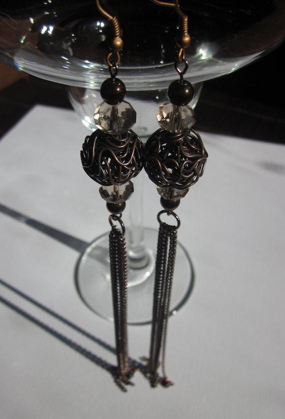 Brown Bombshell Beaded Tassel Chain Earrings