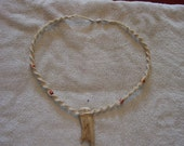 24 inch spiral knot braid necklace with beads and antler pendant