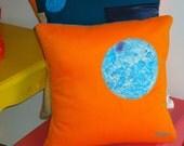 "Cushion/pillow cover - Orange/Tangerine 14"" x 14""."