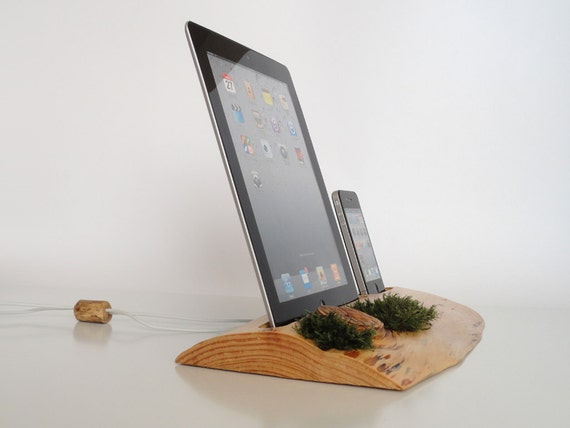 iPhone / iPod / iPad evergreen wooden DUAL docking station - sync, charge, can serve as holder / stand...