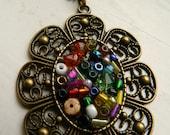 Raquel rainbow seed bead brass pendant necklace