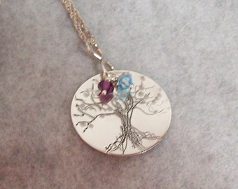 Sale! Silver Tree of Life Pendant, Hand Engraved Tree of Life Necklace, Birthstone Necklace, Personalized Necklace, Tree of Life Pendant