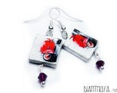 Red Vespa tile earrings with swarovski beads