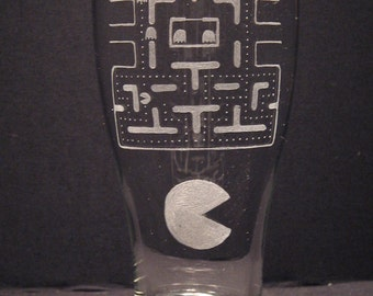 Pac Man Inspired Pilsner Engraved Glass Pick your style