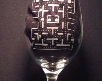 Ms. Pac Man Inspired Wine Engraved Glass