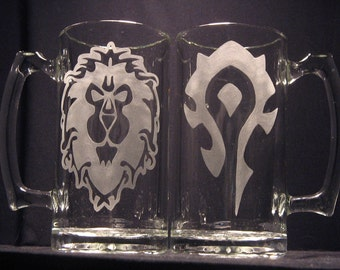 """World of Warcraft Alliance or Horde inspired Engraved/Etched Glass """"PICK YOUR STYLE"""""""