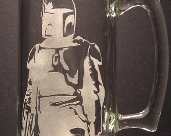 Star Wars Boba Fett bounty hunter inspired Beer Mug Engraved/Etched Glass