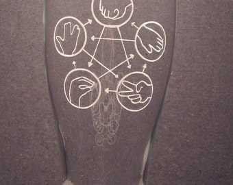 """Rock Paper Scissors Lizard Spock Big Band Theory inspired Beer Pilsner Engraved Glass """"PICK YOUR STYLE"""""""