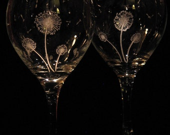 Etched Wine Glass FREE SHIPPING Hand Engraved Dandelion Wine Glasses