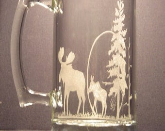 Moose and calf One wildlife engraved glass Moose design beer mug