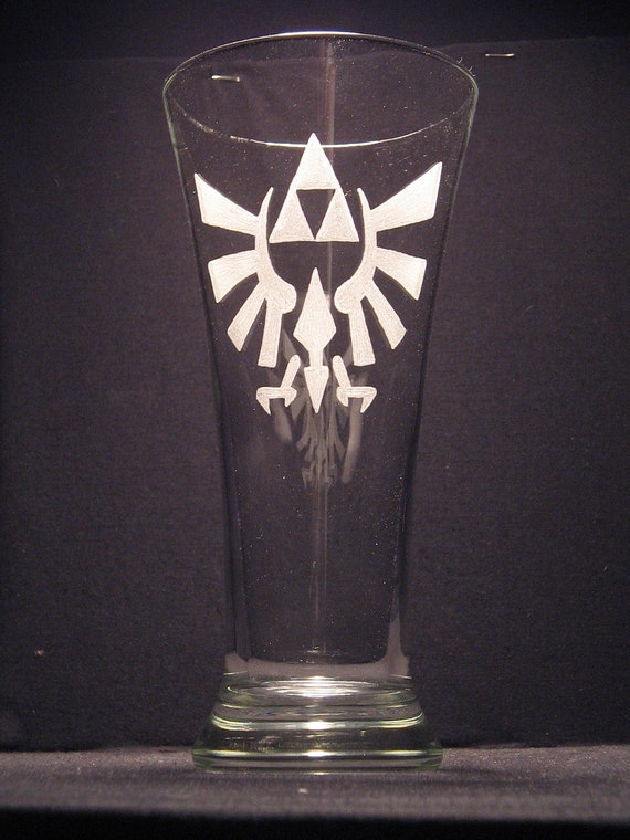 "The Legend Of Zelda Triforce  inspired Beer Pilsner Engraved/etched Glass ""PICK YOUR STYLE"""