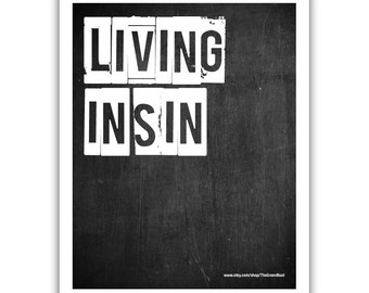 Typographic Print - TITLE Living in Sin