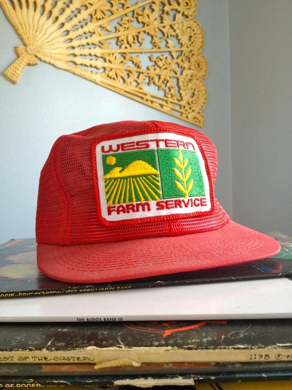 Western Farm Service Vintage Retro Red Mesh Trucker Farmer Hat or Ball Cap. New Deadstock. Never worn & in Mint Condition