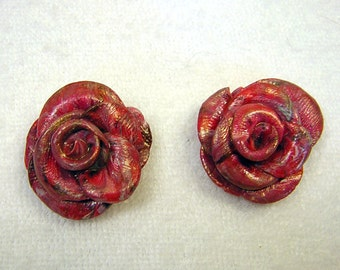 Rose Earrings - Red and Gold Textures