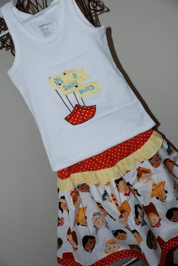 Custom Disney Small World Twirl Skirt and Tank Set