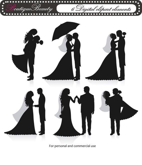 Digital ClipArt - 6 Digital clipart wedding elements - 300 dpi - (set 74)