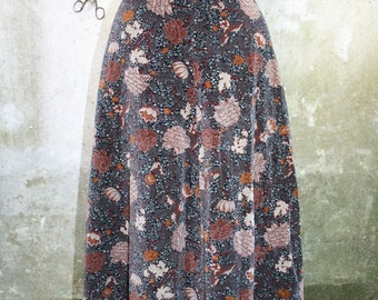 Vintage 1970s or 1980s grey brown cream terracotta coloured flower patterned velvet A line skirt with matching belt