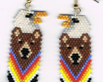 Brown Bear, Eagle totem earrings