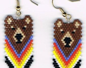 Beautiful Hand Beaded Brown Bear in totem dangling earrings