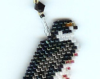 Hand Beaded Peregrine Falcon Dangling earring  number 215