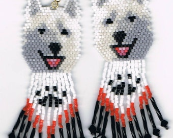 19 Hand Beaded  Laughing White wolf, Husky, Alaskan malamute dog earrings with Paw Print in fringe