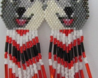 16 Hand Beaded  Laughing Grey wolf, Alaskan Malamute, Husky dog earrings with red & black in fringe