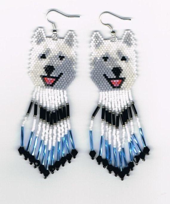 23 Hand Beaded  Laughing White wolf, Husky dog earrings with light blue & black in fringe