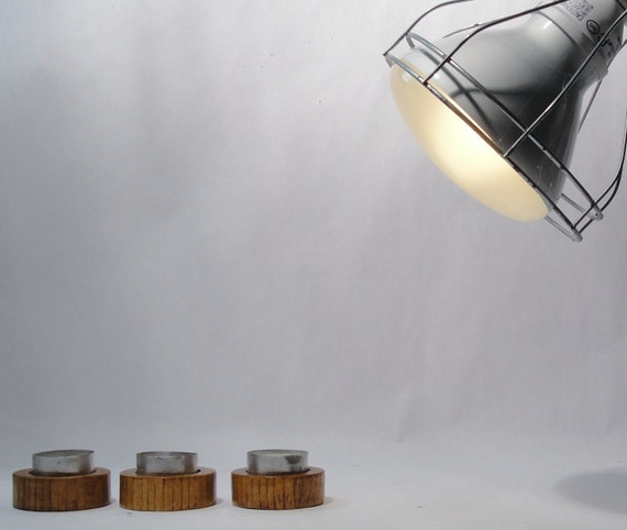Midcentury wood trio candlesticks or tea light holder - Danish modern kitchen accessories 1950s mad men decor eames era minimalist