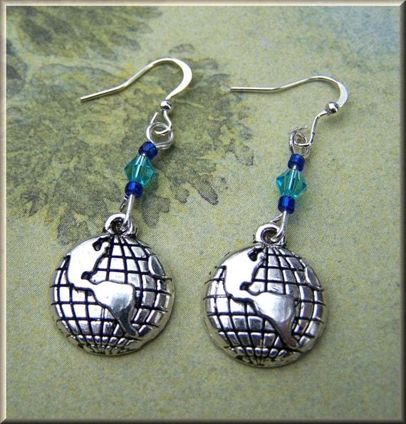 Earrings Silver World GLOBE w  Blue crystal beads on silver plate wires 418 Fun & Funky
