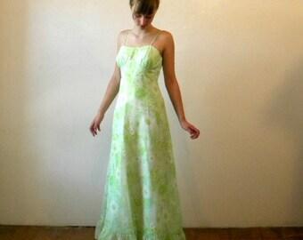 Chiffon Maxi Dress / Mint Green Formal Jacket Floral / Empire Waist / Medium