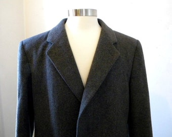 Mens Gray Cashmere Coat / 80s Nordstroms / Mens Medium Womens Large