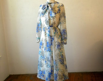 70s Blue Floral Dress / Pretty Chiffon Dress / Tea Length / White Slip Dress / M