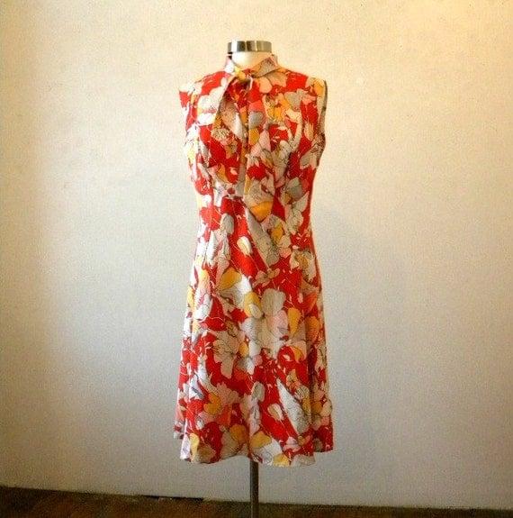70s Floral Dress / Sleeveless Mod Orange Day Dress / Extra Large  1X