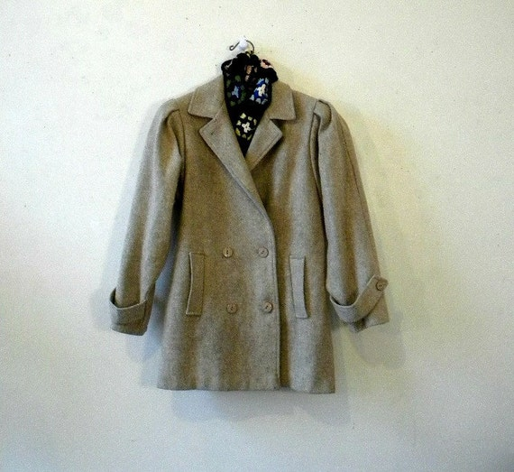 Starlet Vintage Car Coat / Oatmeal Wool 80s Does 40s / Like New / Medium