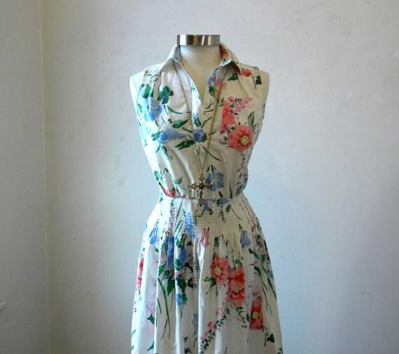 Spring Dresses / Vintage 80s Floral Dress / White Cotton / M