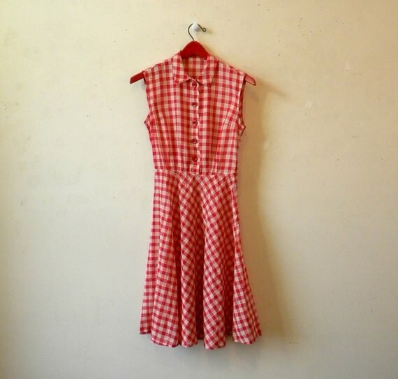 Vintage 50s Sundress / Gingham Check Picnic Dress / XS