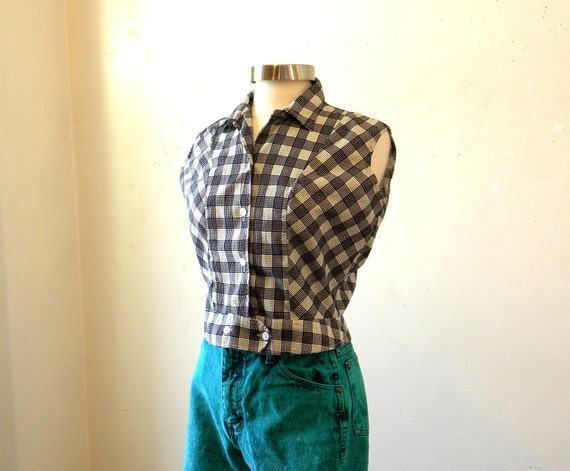 Checked Sleeveless Shirt / 60s 70s Fitted Top / Black White Large