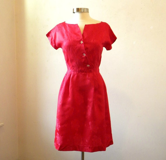 Red 60s Party Dress / Satin Dress / Rose Damask / Glass Buttons / M