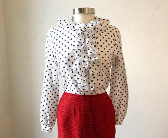 Polka Dot Secretary Shirt / Mad Men Megan Draper Ruffled Blouse / Navy and White