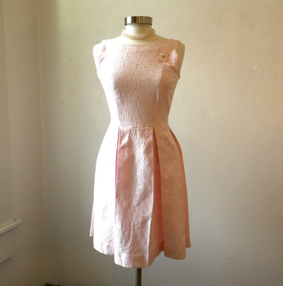 60s Party Dress and Jacket / Pink Brocade / Pleated Skirt / Small
