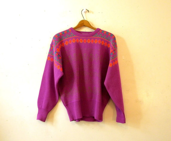 Vintage 80s Sweater / Neon Southwest Fuchsia Pullover Wool Blend Hipster / Large