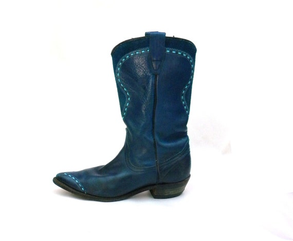 Don't Step on My Blue Suede Cowgirl Boots / Western 80s / Womens Size 7 8 N