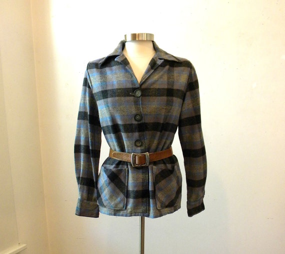 Plaid Pendleton 49-er Style Jacket / 70s Rockabilly Clothing / Medium