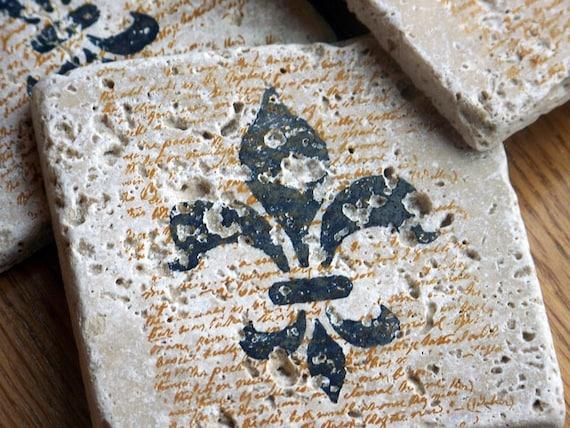 coasters, rustic, natural stone, tumbled tile,  - fleur de lis, set of 4 -