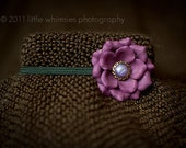 Small purple flower baby headband : Perfect for newborns and infants