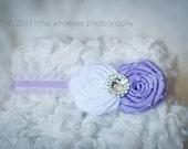 Lavender and white flower vintage baby headband:  Newborn, Infant, Toddler,